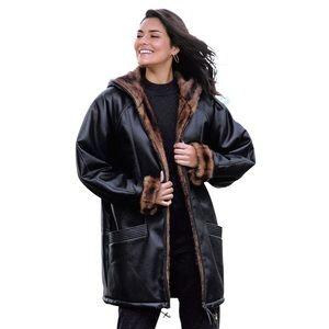 Black leather fur lining oversized heavy coat